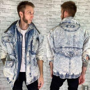 Vintage Distressed Acid Washed Denim Winter Jacket